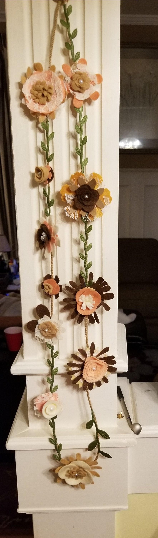 New Rustic Fall Felt Flower Garland Felt Flower Rustic Wedding Garland 5 Ft Rustic Fall Shower Garland Bridal Shower Flower Garland