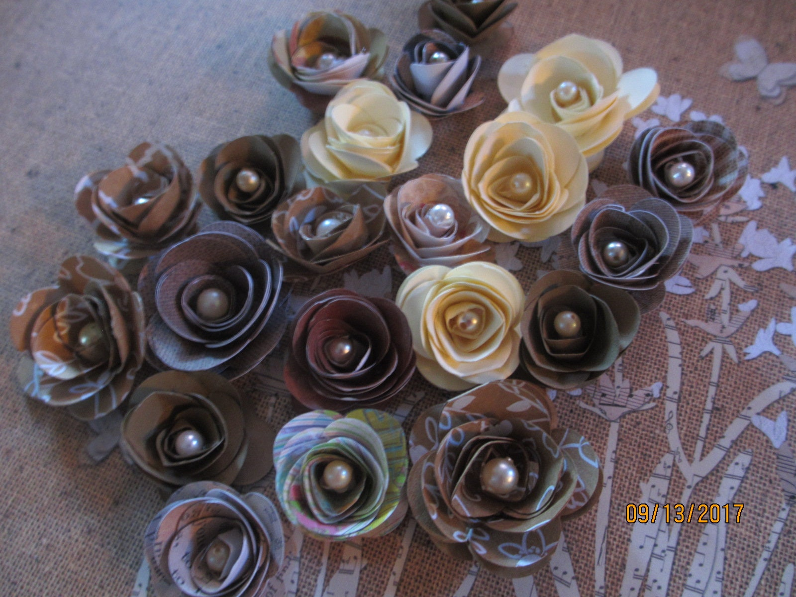 10 Small Rustic Paper Flowers Fall Wedding Cake Flowers Fall