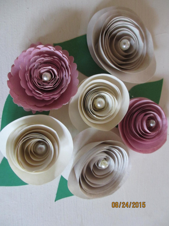 10 pink cream ivory rolled paper rosesshower favor flowerspaper 10 pink cream ivory rolled paper rosesshower favor flowerspaper rose bridal bouquet flowers wedding flower mightylinksfo
