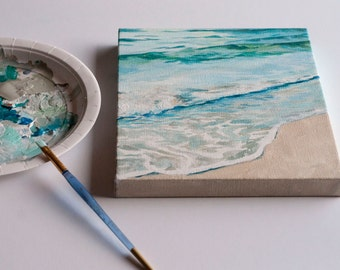 """Original 8x10 Painting """"Sand and Sea"""" FREE SHIPPING"""