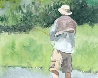 Watercolor Fisherman Print