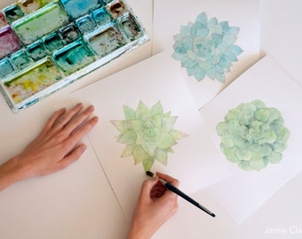 Watercolor Succulent Prints: Pick a Size!