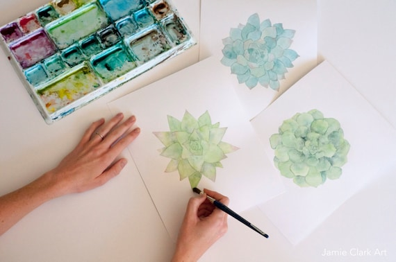 Watercolor Succulent Prints: Pick a Size!