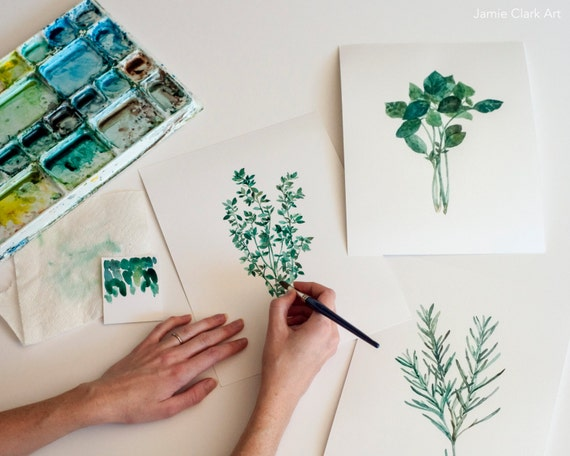 Watercolor Herb Prints: Rosemary, Basil, Thyme