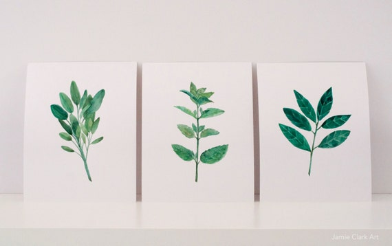 Watercolor Herb Prints: Sage, Mint, Bay Leaf