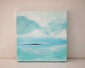 "Original 18x18 Painting ""Island Seascape"" FREE SHIPPING"