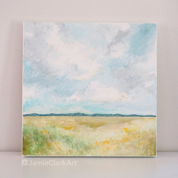 "Original 10x10 Painting ""Mountain Landscape"" FREE SHIPPING"
