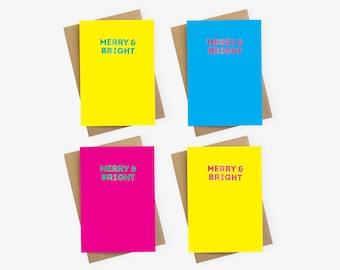 Merry & Bright Foil Luxury Colourful Rainbow Christmas Card Packs