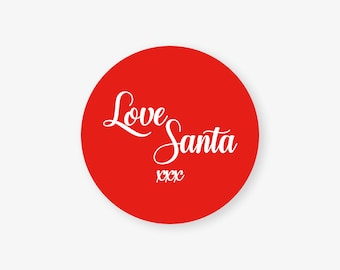 Love Santa 100% Recycled Eco Friendly Christmas Gift Wrap Sticker Label Seals