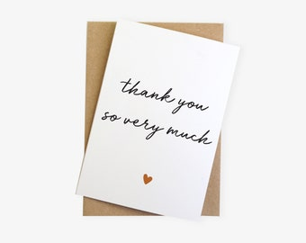 Thank You So Very Much Simple Modern Plain Thank You Card