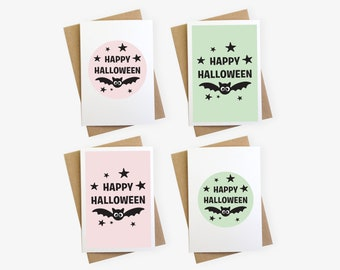 Cute Pastel Pink Happy Halloween Cards For Kids
