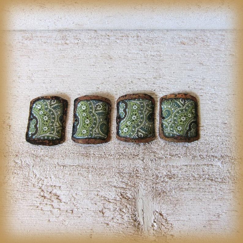 Set of 4 enameled copper charms for bracelet