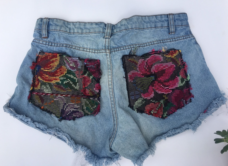 Women Demin Shorts with Guatemalan Textil and clutch
