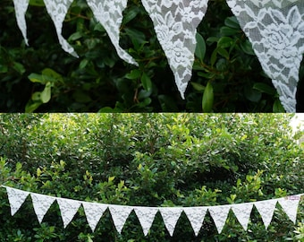 3.2m Lace Bunting Pennant 12 Flags Banner Vintage Wedding Hanging Decoration Supplies