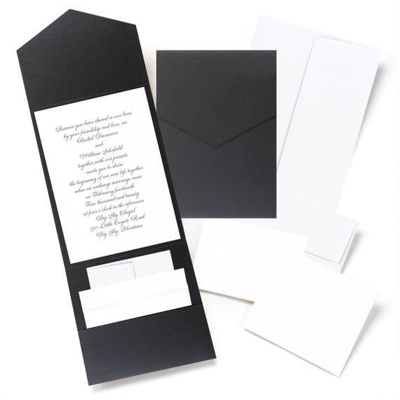 Scroll Wedding Invitations Australia: 25 X Black Wedding Invitation DIY Kit Pockets RSVP Cards