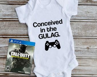 "/"" Baby Romper bodysuit /& Bib Set. Brown Ops /"" Call of Duty .. in 4 colors ."