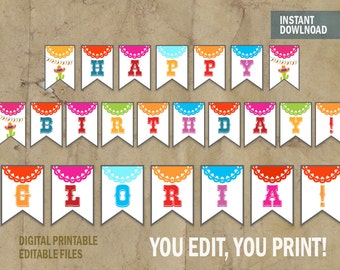 Fiesta Party Banner Editable Birthday Instant Download DIY And Edit With Adobe Reader