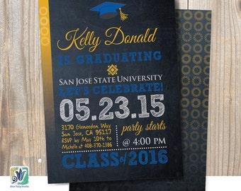 graduation invitation chalkboard double sided graduation etsy