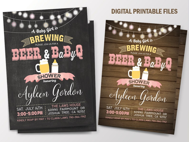 Baby is Brewing, Baby Brewing, BabyQ Baby Shower, BBQ Baby Shower  Invitation, Baby Girl is Brewing, Baby-Q, Baby Shower BBQ, Printable DIY