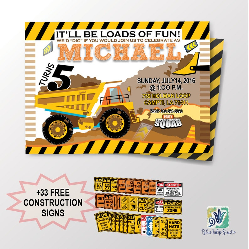 photograph about Free Printable Construction Birthday Invitations named Composition Birthday Occasion Invitation / Dump Truck Framework / Electronic Printable / Boy Birthday