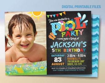 Pool Party Invitation, Pool Party Birthday Invitation, Pool Party Birthday, Water Party Birthday Invitation, Swimming Party, DIY