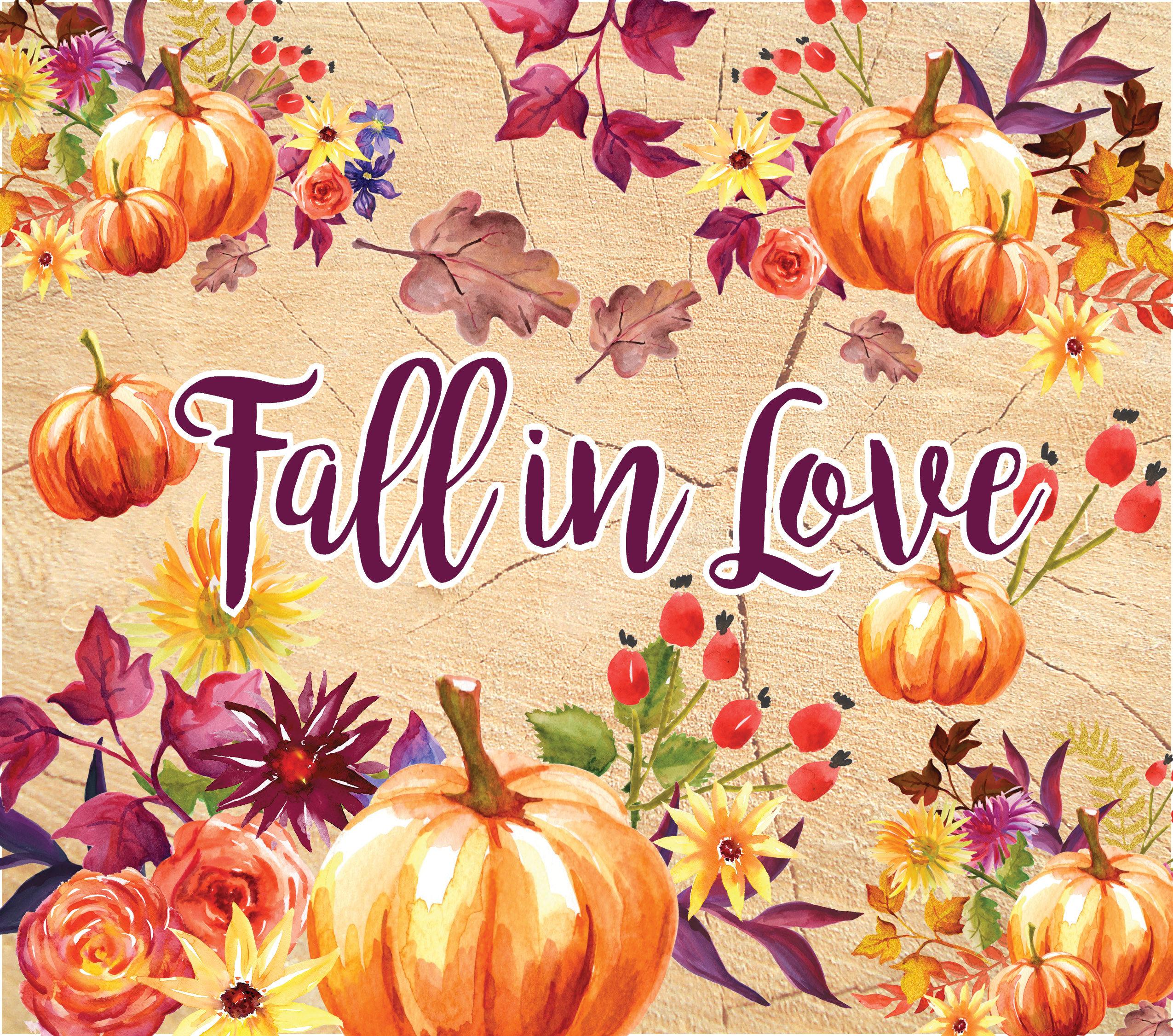 Fall Clip Art / Watercolor Pumpkin / Autumn flowers. Fall ...