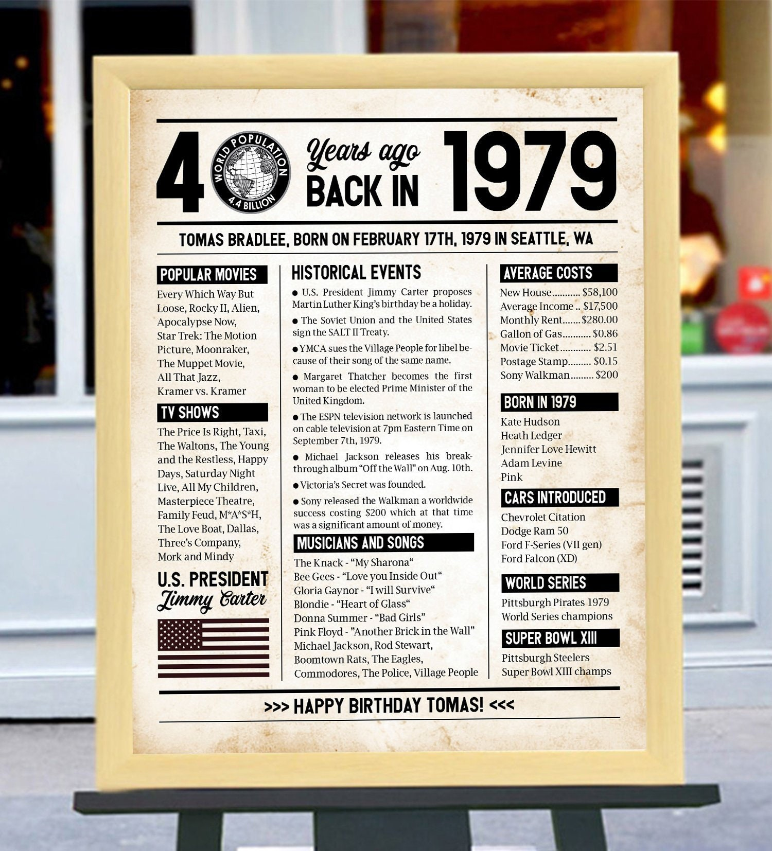Digital Printable File Only!!! 1979 Birthday Board, Back In 1979 Newspaper  Style, 40th Birthday, 40th Anniversary, 40 Years Ago In 1979