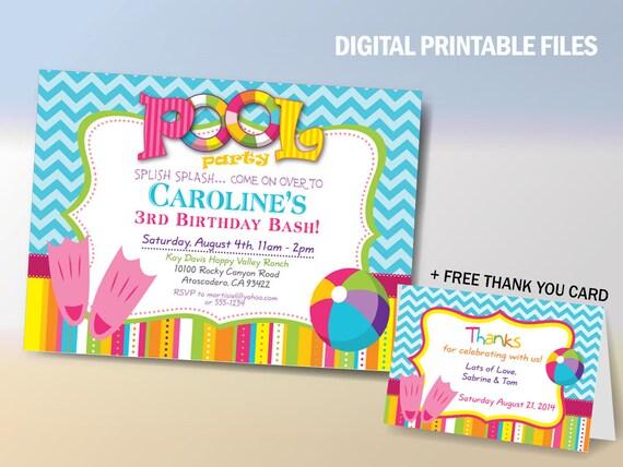 pool party birthday invitation pool party birthday printable etsy