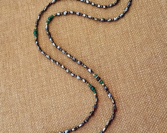 Pyrite and green Onyx necklace, long necklace,  gemstone necklace, green and silver necklace, faceted gemstone, gold plated
