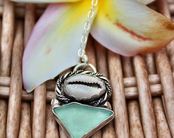 Offshore Cowrie & Sea Glass Necklace