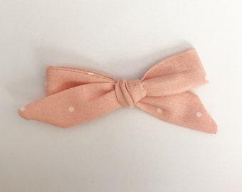 Peachy Pink Polka Dot Bow