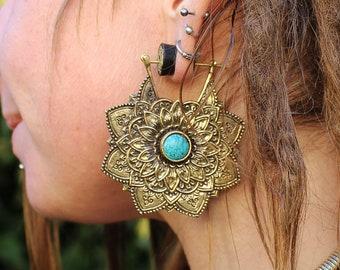 Brass Flower Mandala Earings, Turquoise Earrings, Flower Earrings, Mandala Earrings, Boucles Mandala, Boucles Turquoise, Boucles Fleur