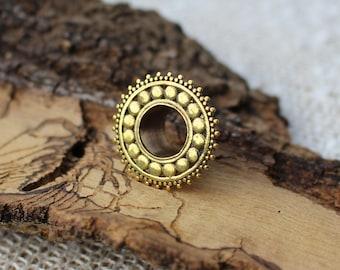 Brass Ear Tunnels, Dots Tunnels, Mandala Tunnels, Ear Plugs, Gauges Earrings, Tribal Flesh Tunnels, Tribal Brass Plugs 8mm 12mm Ecarteurs