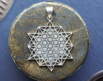 Tetrahedron Silver Pendant, Geometric Pendant, Sacred Geometry, Metatron Cube Pendant,Pendetif Geometrie Sacree, Pendentif Metatron