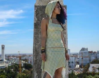 Made To Order :Pixie Dress, Elf dress, Fairy Dress, Hooded Dress, Goa Dress, Steampunk dress, Festival Clothing, Boho, Robe Dentelle Capuche
