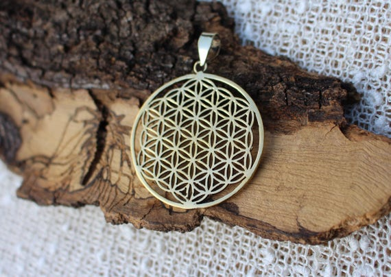 Flower Of Life Pendant 3d Brass Pendant Spiritual Jewellery Etsy