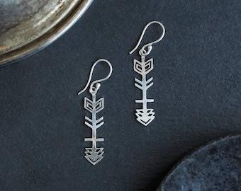 Silver Plated Arrow Earrings, Arrow Earrings, Dangle Earrings, Boucles Fleche