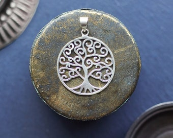Tree of Life Pendant, Tree of Life Necklace, Silver Coated Pendant, Silver Coated Necklace, Tribal Necklace
