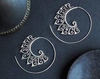 Silver Plated Spiral Ornamental Earrings, Spiral Earrings, Boucles Spirales, Boucles Ornementales