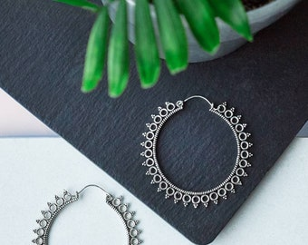 Silver Plated Dotted Indian Hoops, Hoops Earrings, Big Hoops, Indian dotted Earrings, Boucles Indiennes