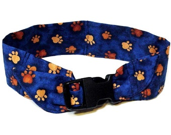 Dog Cooling Bandana, Polymer Neck Cooler Collar, Buckle Adjustable Fabric Band Size Medium 14 to 18 inch Navy Blue Tan Paw Prints iycbrand