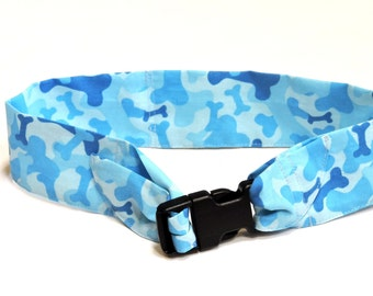 "Keep Cool Collar, Dog Neck Cooler, Cotton Fabric Cooling Band w/Buckle, Adjustable Size Large fits 18 to 22"" neck, Blue Dog Bone iycbrand"