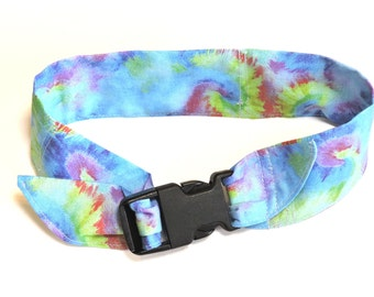 Keep Cool Collar, Dog Neck Cooler, Cotton Fabric Cooling Band w/Buckle, Adjustable Size Large fits 18 to 22 inch neck, Blue Tie Dye iycbrand