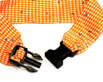 Dog Neck Cooler Collar, Stay Cool Pet Fabric Cooling Collar Band, Buckle Adjustable Size Medium 14 to 18 inch, Orange White Check iycbrand