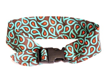 Paisley Cooling Collar, Dog Neck Cooler with Buckle, Sz Medium 14 to 18 inch, Brown Orange Turquoise Stay Cool Fabric Cool Tie Band iycbrand