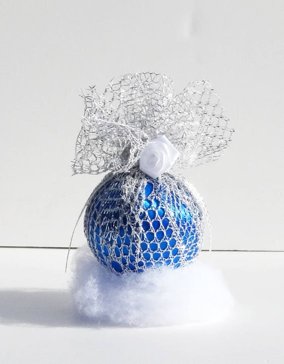 Ornament Royal Blue and Silver Lace Victorian Inspired Christmas