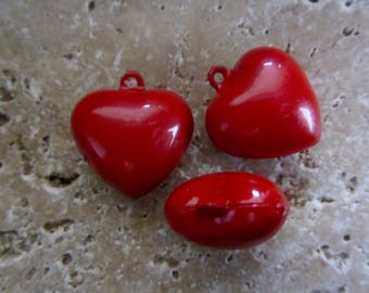 Valentines Heart Bell Charms 10 bells