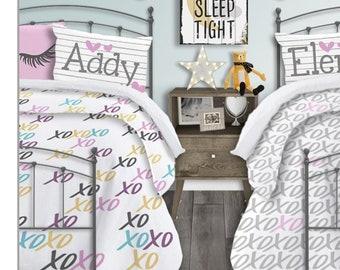 Twin Girls Bedding Set Monogrammed Duvet Cover For Kids Bedding Set Bedding  For Twin Girls Teen Girl Bedding For Teen Girls Comforter