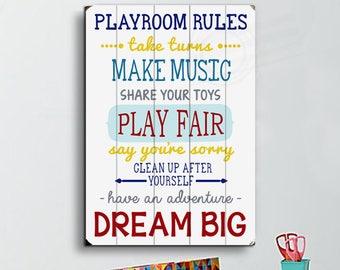 Playroom Rules Sign Planked Wood Sign Playroom Wood Sign Playroom Rules Wall Art Playroom Decor Playroom Sign Playroom Wall Decor for Kids