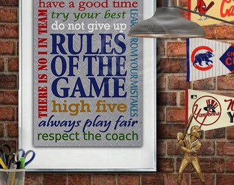 Rules Of The Game Boys Wall Art Teen Boys Wall Decor Teen Boys Wall Art  Sports Wall Art Sports Rules Decor For Boys Room Decor Sports Quotes